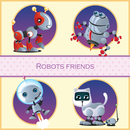 cartoon friends: Robots friend, four isolated cartoon character