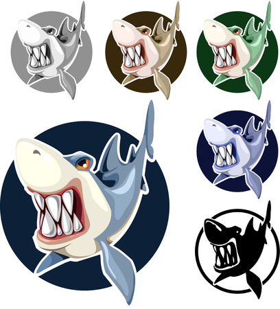 subaqueous: sharks set assorted colors in the circle