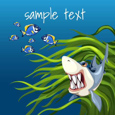 subaqueous: Angry shark among algae and a set of small fish on a blue background