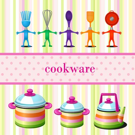 cookware: set of kitchen cookware with space for text. Bright background. Modern design.
