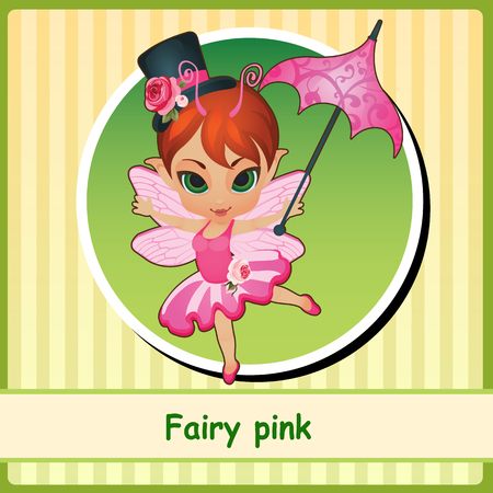 pixy: Fairy pink - cute girl in pink dress. You can use it as icon or a card with space for text