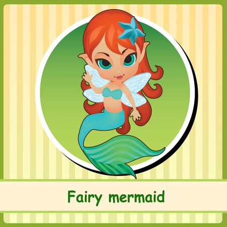 pixy: Fairy mermaid - cute girl illustration. You can use it as icon or a card with space for text Illustration