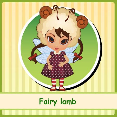 pixy: Fairy lamb - cute girl in brown dress. You can use it as icon or a card with space for text Illustration