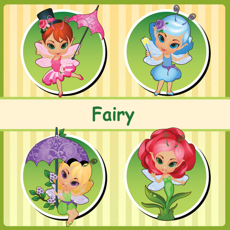 pixy: Four cute fairies - fairy pink, fairy blue, fairy purple and Rose fairy Illustration