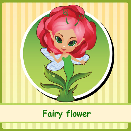 pixy: Fairy flower - hand-drawn illustration. You can use it as icon or a card with space for text