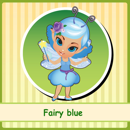 pixy: Fairy in blue dress - hand-drawn illustration. You can use it as icon or a card with space for text