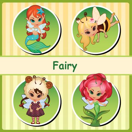 Four cute fairies - fairy mermaid, fairy bee, fairy lamb and flower fairy. All icons isolated