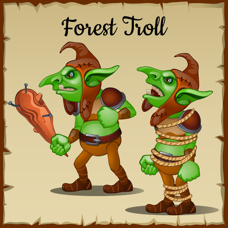 troll: Green Troll with a wooden club bound by rope Illustration