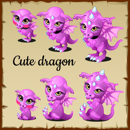 folk tales: Set of little pink dragon on a parchment background