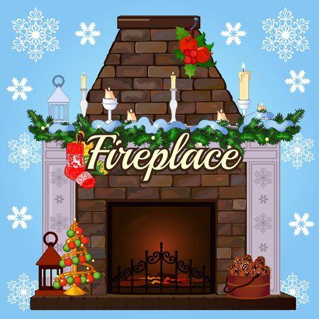 camino natale: camino con albero di Natale, calze e candele regalo di Natale Vettoriali