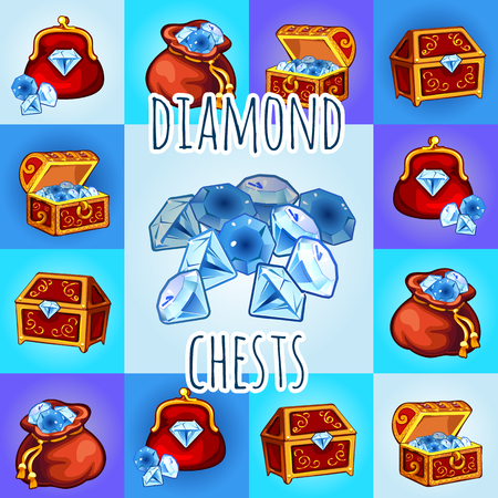 treasure: Set of diamond icon, chest, bag with gemstone