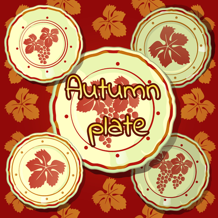 porcelain: Set of autumn plates, porcelain dishes
