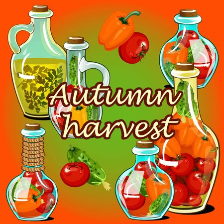 fall harvest: Canned vegetable in the fall, autumn harvest