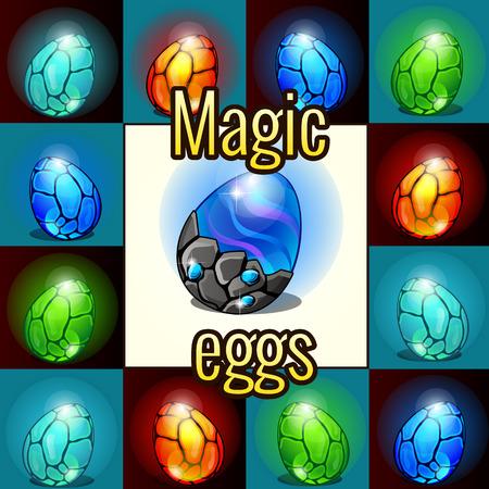 fondo luminoso: Juego de conjunto de la magia, huevos de drag�n con retroiluminaci�n Vectores