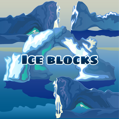 polar climate: Ice blocks on a blue background