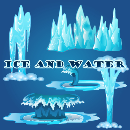 polar climate: Ice and water, waves and geysers on a blue background Illustration