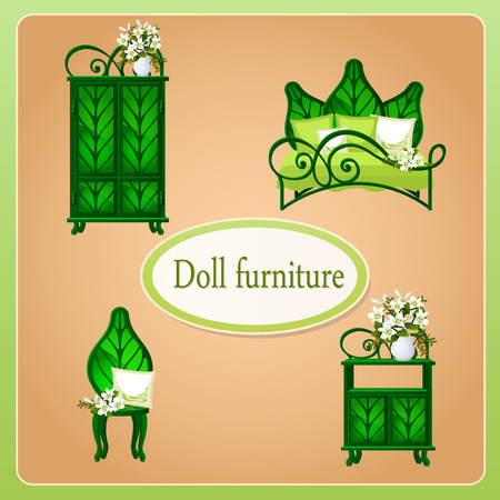 puppenhaus: Green eco dollhouse furniture, set of four objects