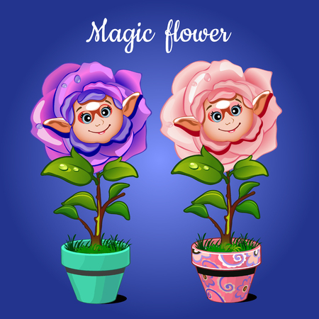 ear drop: Two roses in pots on a blue background smiling Illustration