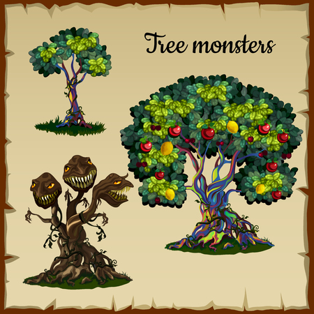monster face: Set of two trees and a tree monster with dragon heads Illustration