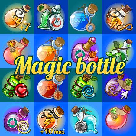 alchemist: Big set of different magic bottles Illustration