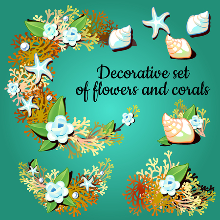 articles: Set of decorative articles made of corals and colors