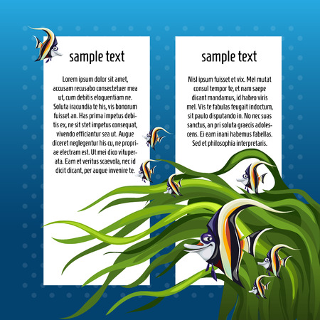 nemo: Angelfish among the algae on a blue background with white space for text
