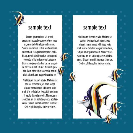angelfish: Angelfish on a blue background with white card for text