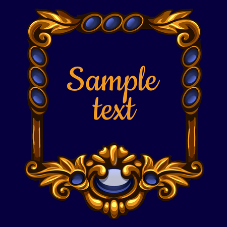 Golden frame with text on a blue background