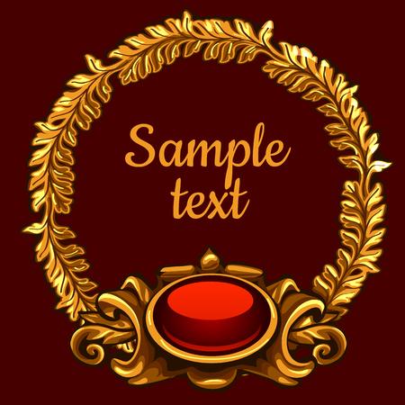 jeweller: Golden ornate decoration on a red background Illustration