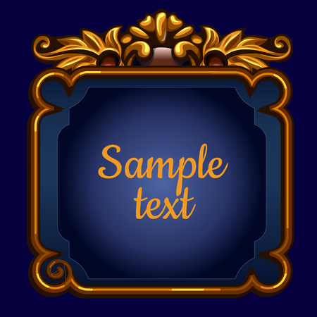 Golden surround frame with text on a blue background