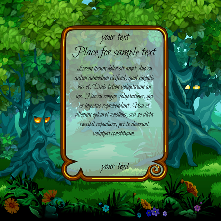 dream land: Landscape with mystical nature and frame for text in the middle