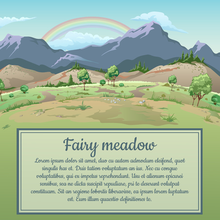 playbill: Rainbow over field and mountains