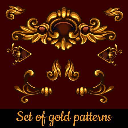 jeweller: Set of golden volume patterns Illustration