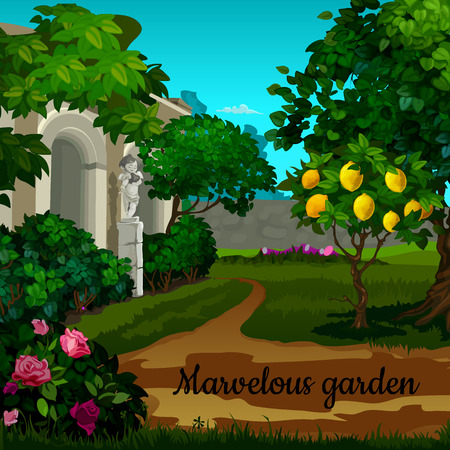 woodland sculpture: Magic garden with citrus tree and statuett Illustration