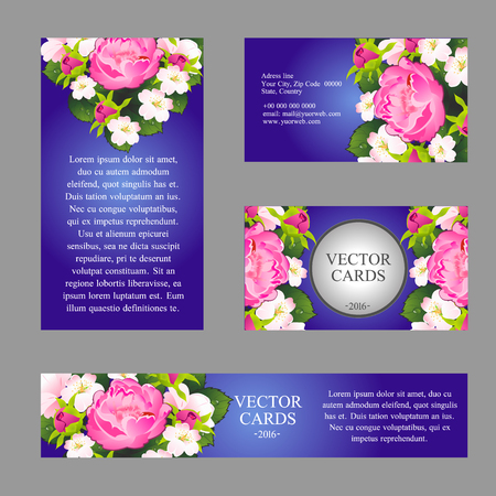 four texture: Four cards with the texture of pink peonies and sample text Illustration