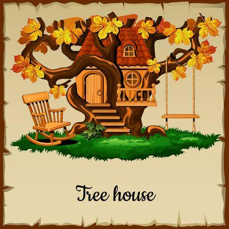 rope ladder: Casa de arbolado antiguo con el entretenimiento al aire libre
