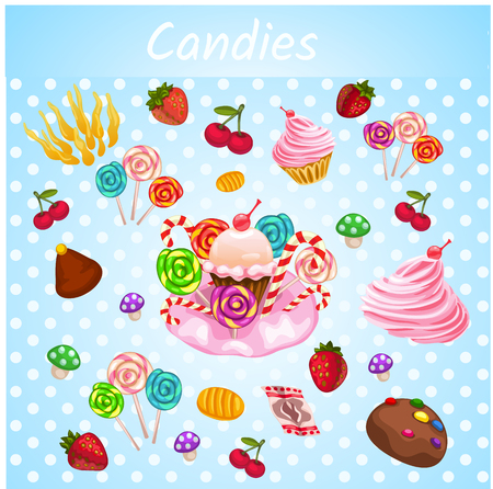 jellybean: Bright explosive vector set of bakery - lollipops, candies, cupcakes - you can use anything you need Illustration