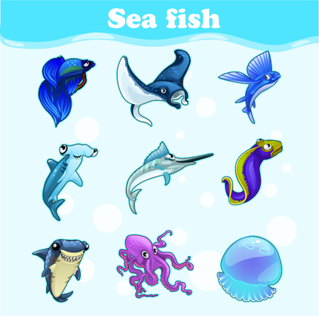 large group of object: Colorful vector set of marine animals on a blue background