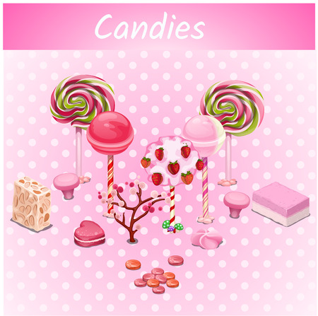 jellybean: Original vector candy trees on a pink point background