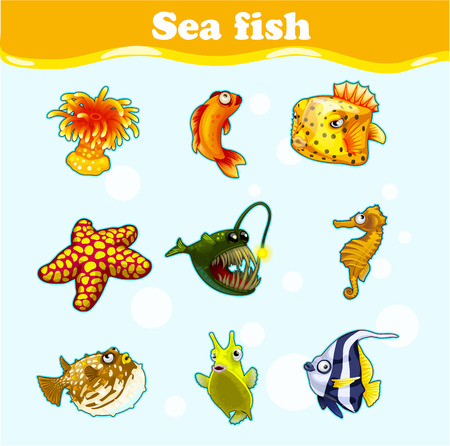 marine animals: Gold set of marine animals on a light blue background