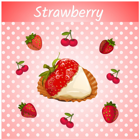 few: Vector strawberries with cream closeup and a few small strawberries and cherries on a pink background Illustration