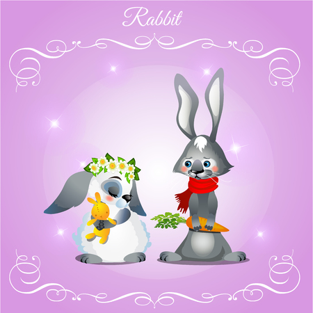 postcard background: Postcard with two rabbits on a purple background Illustration