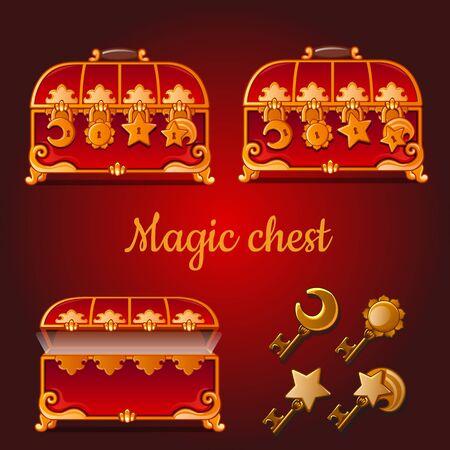 Set of magical red chests and golden keys on dark background Illustration
