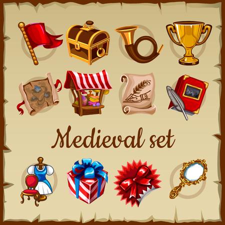 vestido medieval: Conjunto de objetos medievales en pergamino de papel de fondo Vectores