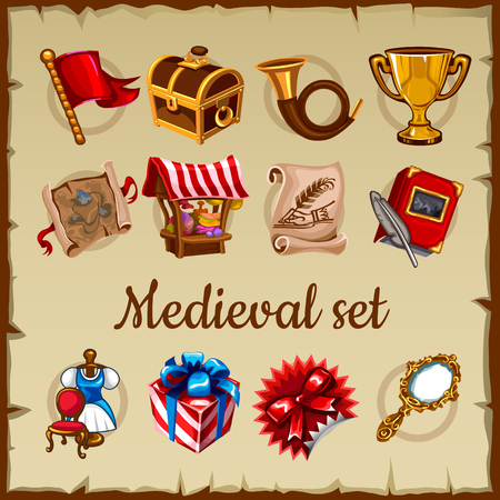 gold treasure: Set of medieval object on parchment paper background Illustration