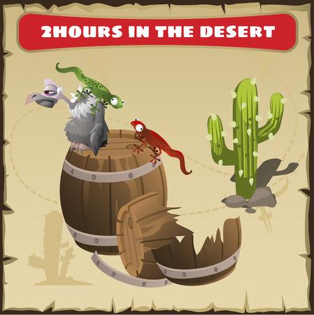 plantas del desierto: Dos horas en el desierto. Un vector de la escena divertida de la vida animal en el desierto. Antecedentes - papel de pergamino Vectores