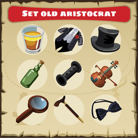 aristocrat: Vector set old aristocrat: nine different things of a great men