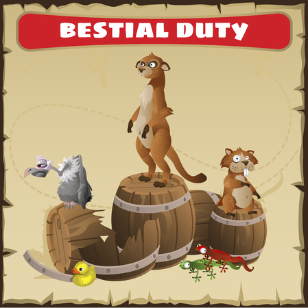 parchment paper: Bestial duty. A funny vector scene with wild animal in the desert. Background - parchment paper