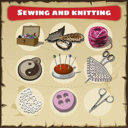 sewing materials: Hand drawn sewing and knitting set, supplies and accessories for sewing on light background. Vector sewing equipment, arts and craft