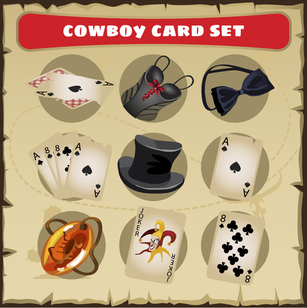excitement: A great vector set of cowboy with card, hat, tie a butterfly and trump